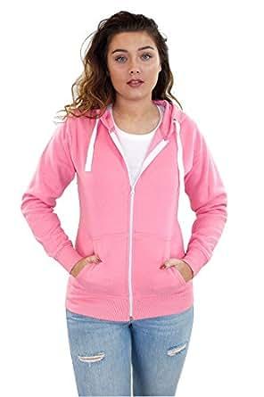 cb7c33085f157 Ladies Plain Zip Up Hoodie Sweatshirt Women Fleece Jacket Hooded Top ...