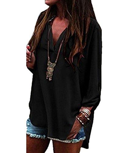 Damen Lose Asymmetrisch Langarmshirt Bluse Oberteile Oversize Shirt Schwarz