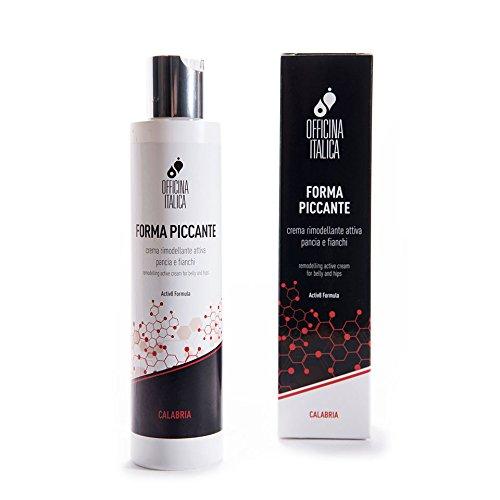 Officina Italica - FORMA PICCANTE - Crema rimodellante attiva pancia e fianchi - A base di Estr. di Peperoncino, Caffeina, Polifenoli, carragenine e Omega-3