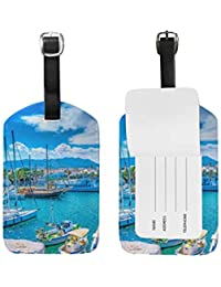 MyDaily Port of Kos Island Greece Luggage Tag PU Leather Bag Travel Suitcase Baggage Label