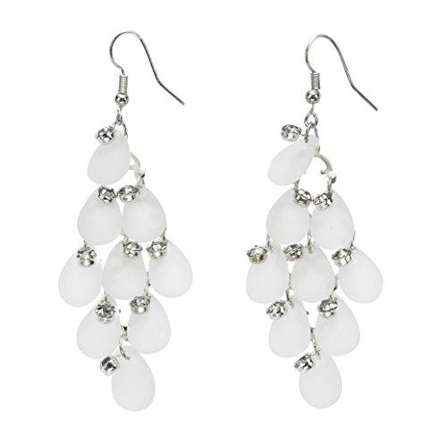 Lange Ohrringe Damen hängend - Ohrschmuck - Ohrhänger mit weißen trophen und graue ()