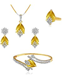 Aabhu American Diamond Ruby Studded Combo Of Pendant Necklace Set With Earrings, Bracelet And Ring Jewellery Combo...