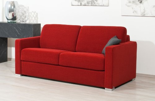 federkern schlafcouch Schlafsofa Nova Al, 143x200cm, zweisitzer mit Schlaffunktion, rot, von Reposa, Top-Qualität made in Germany
