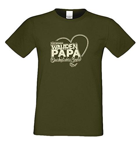 Geschenk-Set : T-Shirt und Urkunde : Für meinen wahren Papa Vatertagsgeschenk Geschenk Geschenkidee Vatertag Adoptivvater Stiefvater : auch in Übergrößen Farbe: khaki Khaki
