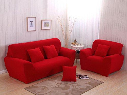 Cotone divano copertura di protezione,tessuto divano asciugamano quattro stagioni slipcovers divano anti-scivolo all semplice moderno fodera elastica per divano componibile copripoltrona-rosso sedia
