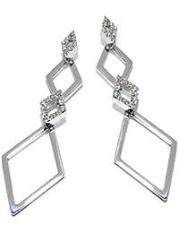 Gioie Women's Earrings in White 18k Gold with Diamond H/SI, 6.3 Grams