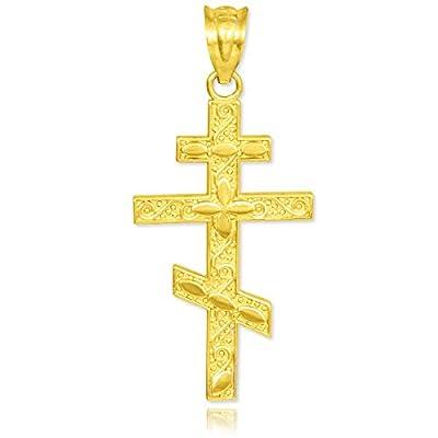 10 Karat Gold Russische Orthodoxe Kreuz Anhänger Halskette (Kommt mit einem 45 cm Kette)