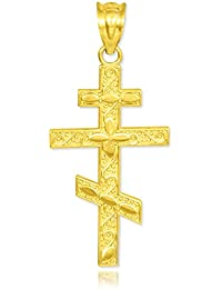 """Little Treasures - 10 ct - Gold Russian Orthodox Cross Pendant Necklace (Comes with an 18"""" Chain)"""