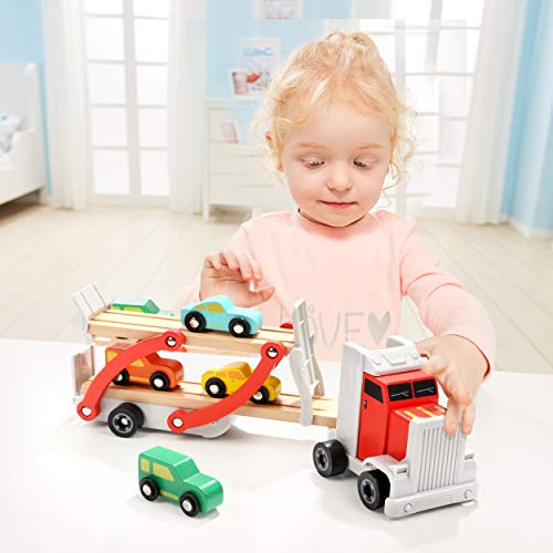 Milly & Ted Wooden Cars Transporter Toy - Kids Carrier Truck & Trailer With 4 Cars Set