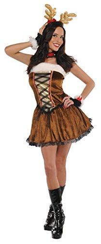 erdbeerloft - Damen Mädchen Ladylike Rentierkostüm als Kleid, Braun, Größe XS