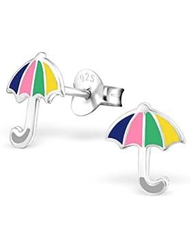SL-Collection Ohrringe Kinderohrringe bunter Regenschirm 925 Silber