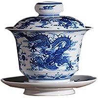Los dragones azules y blancos, las parejas de Félix, los tazones de té de porcelana, el kung fu, el Kung - fu.