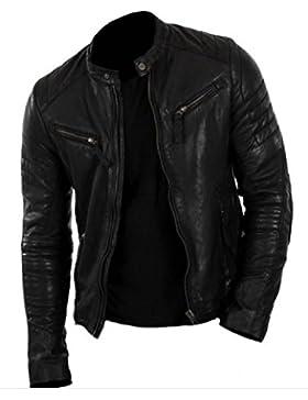 Classyak Hombre Biker Fashion Real con una chaqueta de cuero