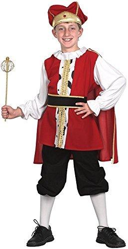 Jungen 5 Stück rot mittelalterlich Tudor Krippe König Weihnachten Kostüm Kleid Outfit 4-14 Jahre - Rot, 12-14 (König Kinder Kostüm Krippe)