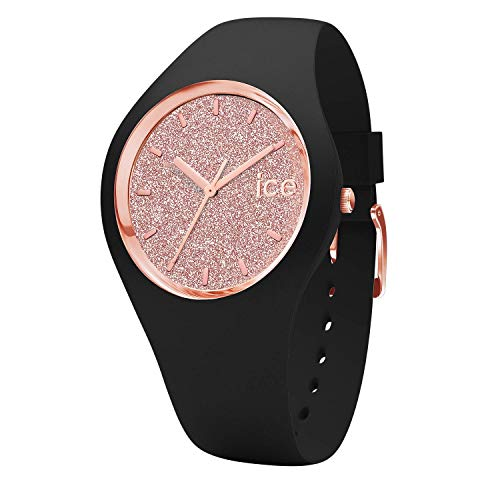 Ice-Watch - ICE glitter Black Rose-Gold - Silbergraue Damenuhr mit Lederarmband - 001346 (Small)