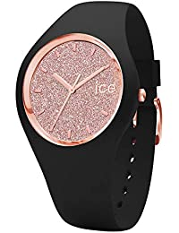 Ice-Watch - ICE glitter Black Rose-Gold - Montre noire pour femme avec bracelet en silicone - 001346 (Small)