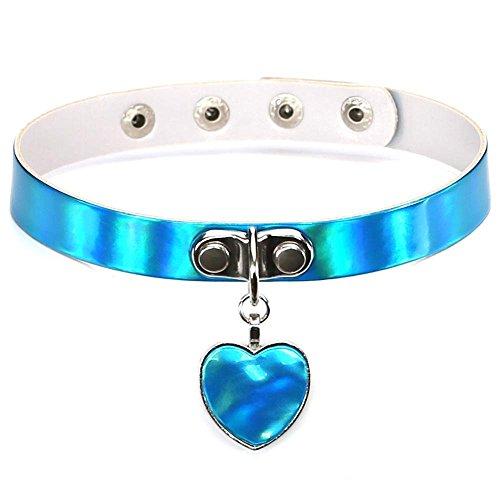 Hykis - Kawaii Frauen-Dame Girl Harajuku Handgemachte Laser Lederschnalle-Kragen-Halskette Punkrock-Herz-Anhänger-Halskette [Blau]