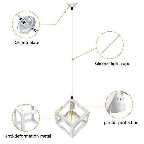 confronta il prezzo KINGSO Bianco E27 Lamp Shade sospensione del soffitto Lampadario con Socket riparo della parete di illuminazione industriale Retro miglior prezzo
