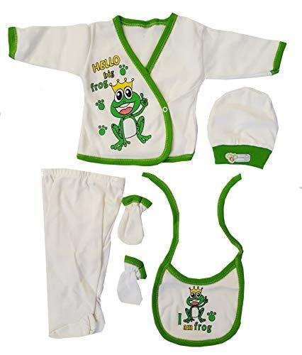 aprom Frosch Baby Erstlingset Neugeborene Body Lätzchen Mütze Hose Füßlinge 5-teilig Kostüm, 56, Grün