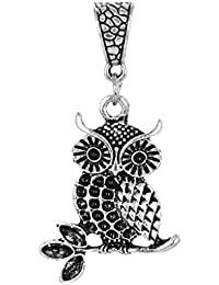 Deistic Stone Tiny Owl Pendant In Silver Alloy For Women/Men/Girls