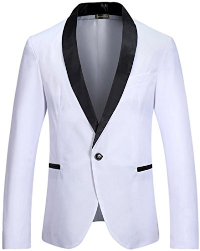 Sportides Herren Slim Fit Casual One Button Blazer Jacket Suits JZA129 White XL (Suit Check Jacket)