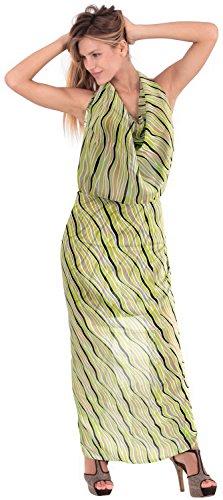 La Leela schiere Frauen leichte Chiffon Ozean wellige Wrap Sarong Kleid 88x42 Zoll Natürlichen Grünen