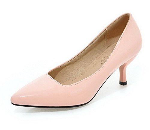 VogueZone009 Donna Pelle Di Maiale Tacco Medio Scarpe A Punta Tirare Ballet-Flats Rosa
