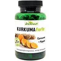 Preisvergleich für Kurkuma Forte von dreikraut - Bio-Kurkuma + Curcumin 95% + Piperin, 160 vegane Kapseln, je 465mg, Deutsche Herstellung...