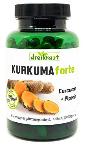 Kurkuma Forte von dreikraut - Bio-Kurkuma + Curcumin 95% + Piperin, 160 vegane Kapseln, je 465mg, Deutsche Herstellung, ausgewogene Rezeptur, frei von Zusätzen, natürlicher Entzündungshemmer