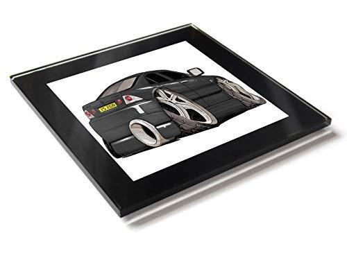 Koolart Cartoon Lexus IS200 - Posavasos de cristal con caja de regalo, negro, 10 cm x 10 cm