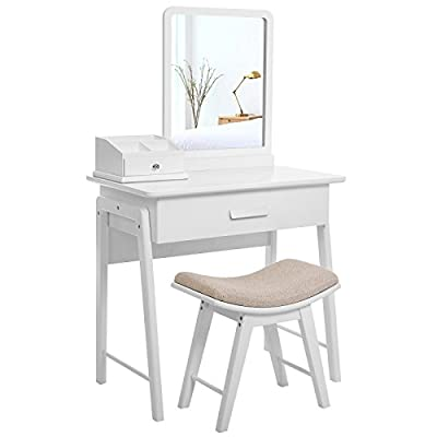 SONGMICS Simple Makeup Dressing Table Vanity Set with Square Mirror and Concave Cushioned Stool Bonus Makeup Organiser 1 Large Drawer with Sliding Rails White RDT21W - cheap UK light store.