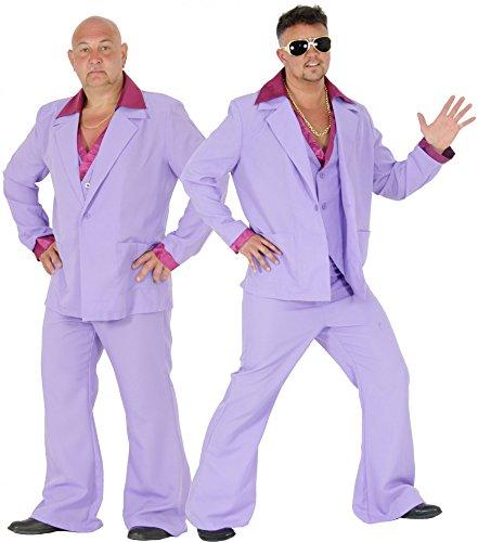 Springen Kostüm Herren - Foxxeo lila 70er Jahre Disco Anzug Kostüm für Herren für Karneval Fasching 70s 80s 80er Größe M