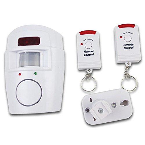 LNIMIKIY Alarme sans Fil détecteur de Mouvement, détecteur de Mouvement antivol Système d'alarme sans Fil - Simple à Installer - Abri de Maison, Garage, Caravane, Camping-Car Free Size Blanc