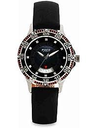 FOCE Analog Black Dial Women's Premium Crystal/Stone Studded Watch - F5111S3-BLACK