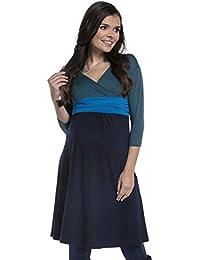 Zeta Ville - Maternité robe grossesse manches 3/4 bloc de couleur - femme - 121c