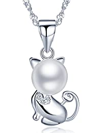 Infinite U 925plata de ley 8mm perla cultivada de agua dulce diseño de gato/Kitty Colgante Collar De Las Mujeres