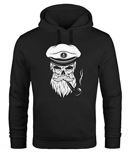 Hoodie Herren Sweatshirt Totenkopf Kapitän Captain Skull Bard Hipster Original Spirit Seemann Neverless® Schwarz