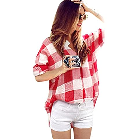 FEITONG Las mujeres de manga larga Algodón Casual Plaid Camisa de la blusa Tops