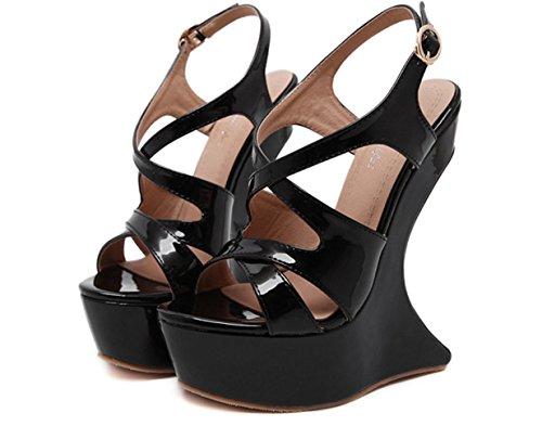 YCMDM Femmes Nouveau Summer Cool pente profilée avec sandales à talons ouverts à talons hauts Black