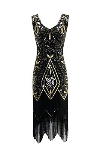 Metme Women's 1920s Flapper Fringe Beaded Great Gatsby Party Dress (4XL, Black)