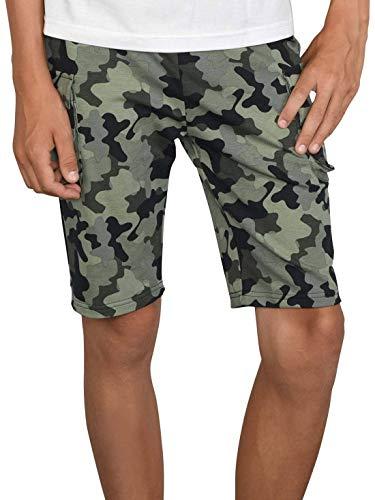BEZLIT Jungen Shorts Kinder Kurze-Hose Cargo Capri Short Hosen Strech 30079 Olivegrün-Camouflage 164 Cargo-kinder-capris