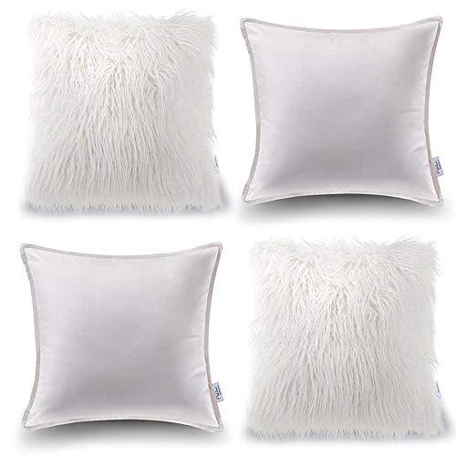 Oreiller Quatre Pièces En Coton De Couleur Unie Housse De Coussin De Canapé Salon Peluche Velvet Core Oreiller (Couleur : Blanc, taille : 60 * 60cm)