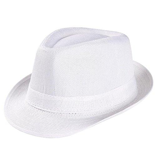 BBring Unisex Trilby Gangster Cap Beach Sun Straw Hat Band Sunhat Bucket Hat (Weiß) -