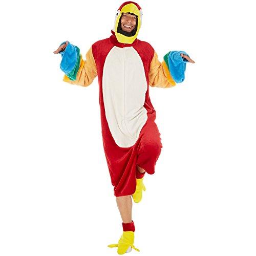 Dressforfun costume da pappagallo per lui e per lei | morbido tessuto di peluche | incl. cappuccio con funzione di copricapo e gambali (l | no. 300876)