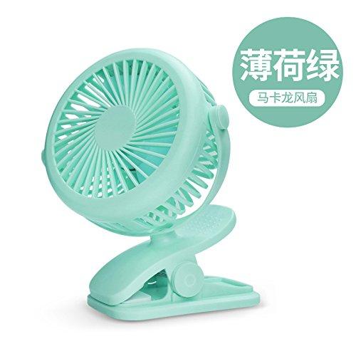 LybCvad Mini Lüfter Schöner kreativer beweglichen Mini-USB-kleiner Ventilator des Sportkinderwagen Reise Kinderwagen Kind Clip Super-Fan schüttelte den Kopf zu kühlen, [Grün]