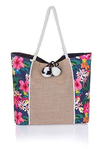 Boutique Damen groß leinen sommer strand Tragetasche Einkaufstasche, verschiedene Styles - marineblau mehrfarbiges Blumenmuster, L