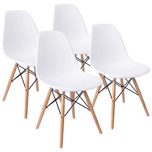 ArtDesign FR Chaises de Style Eames, Pieds de Base en Bois de Hêtre Naturel, Ensemble de 4, Design Ergonomique, Look Moderne Mid-Century (Eames-Blanc)