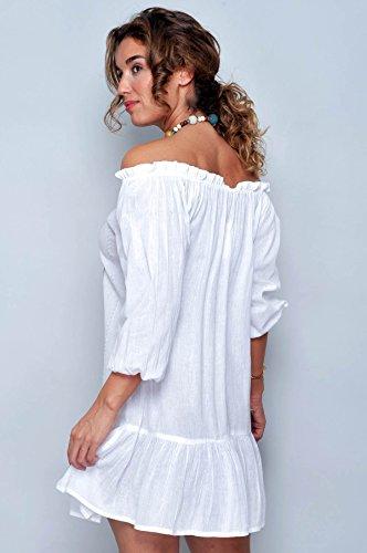 JU FASHION Sommerkleid Strandkleid IBIZA Creme-Weiss