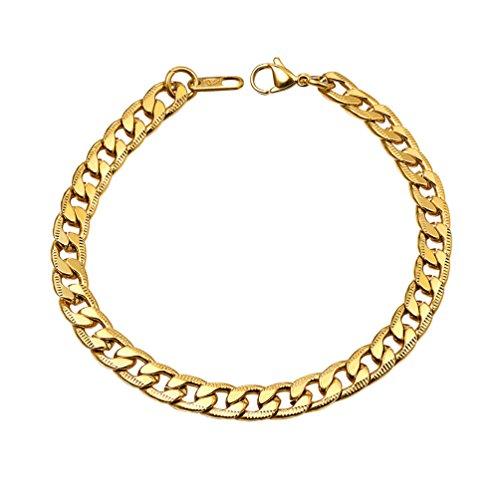PROSTEEL Herren Armband Edelstahl Panzerkette Armband Link Kette Handkette 7MM Breit Armkette für Herren, Gold