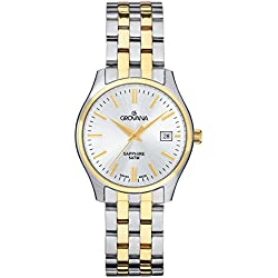 GROVANA 5568.1142 Women's Quartz Swiss Watch with Silver Dial Analogue Display and Two-Tone Stainless Steel Bracelet